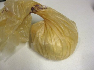 dough in plastic bag