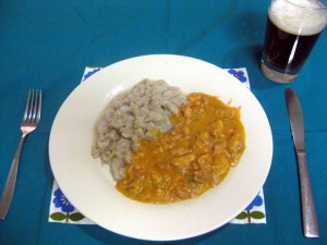 paprikash with potato dumplings (halusky)