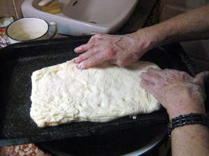 dough on baking pan