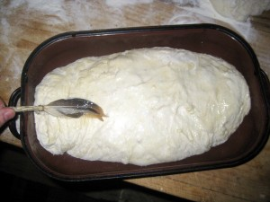 dough in baking pan