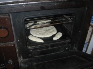 baking in a wood burning stove