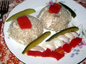 slovak risotto with pickles and sweet peppers