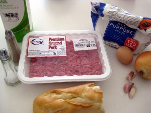 ingredients for fasirka: pork, onion, garlic, salt, pepper, egg, milk, bread crumbs, bread roll