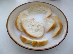 bread soaking in milk sauce