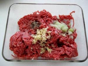 meat with seasoned with onion, garlic, pepper and salt