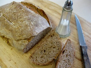 home-baked rye bread with salt