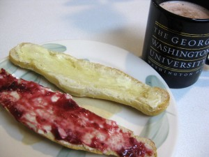 bread with jam and butter, hot chocolate in george washington university mug