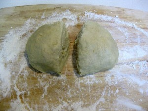 dough cut in half
