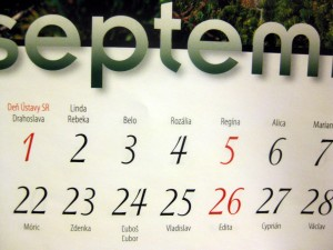 slovak calendar with names