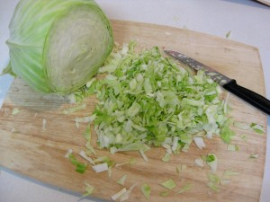 chopped up cabbage