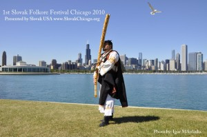 Drahos Dalos on the Fujara in front of Chicago's skyline