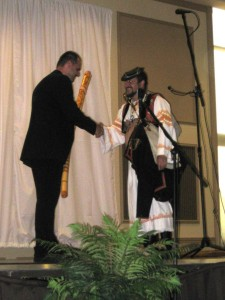 Igor Mikolaska receiving fujara