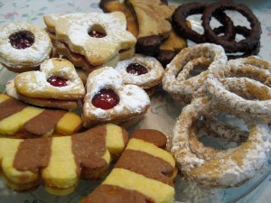 Slovak and Czech Christmas cookies closeup