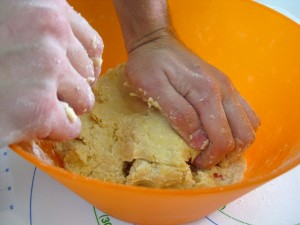 kneading shortbread cookie dough