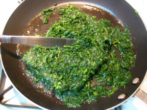 melt butter and stew the spinach