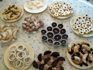 table of full of various Slovak Christmas cookies
