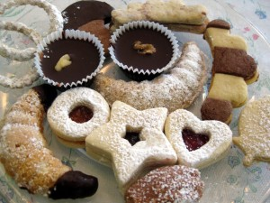 plate full of Slovak Czech Christmas cookies