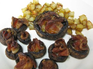 baked portobello with bacon