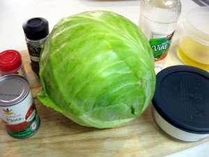 cooking ingredients for red cabbage soup