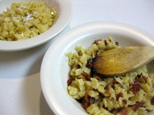 slovak pasta flakes with cabbage bacon and powdered sugar