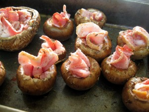 mushrooms filled with bacon