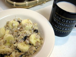 healthy breakfast hot banana raisin oatmeal