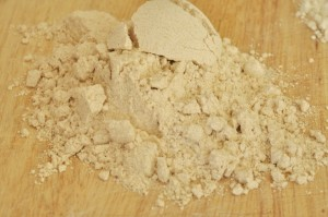 closeup of whole wheat flour