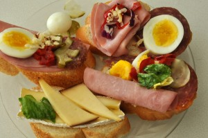 Slovak oblozene chlebicky open face sandwiches