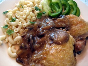 delicious and easy chicken on mushrooms dish
