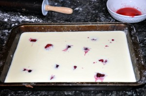 fruits added to cake custard