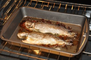 trout baked on butter after baking