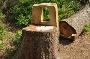 tree stump made into a chair