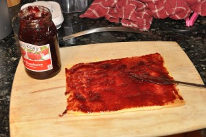 joining cake layers with raspberry jam