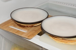 setting filled wafers in fridge