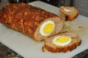 meat roll with egg in the middle